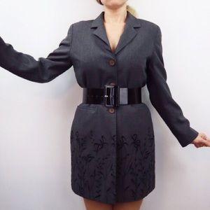 Vintage Long Jacket Dress With Crushed Velvet Dt 8